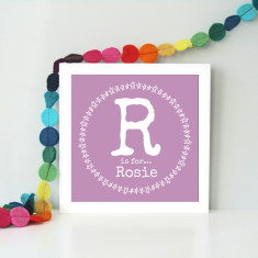 Personalised framed children's name art (3 colour options)