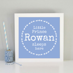 Personalised children's name print for bedroom (blue or pink)