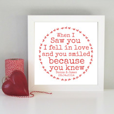 Personalised framed romantic art print