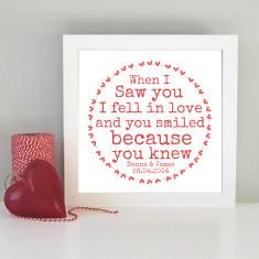 Personalised framed romantic art print