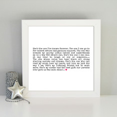 Framed sentimental art print for sister