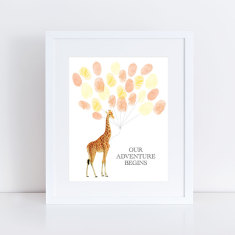 Baby giraffe personalised fingerprint guest book and ink