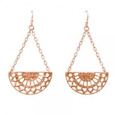 Ottoman hanging earrings in rose gold plate