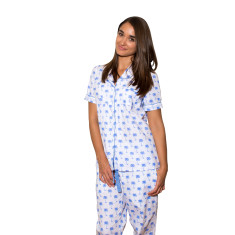 Palm Sunday blue women's pj pants