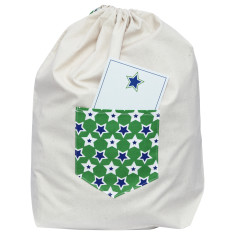 Dear Santa Christmas sack in green and blue stars