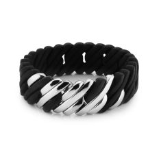 Woven pixel bracelet in black and silver