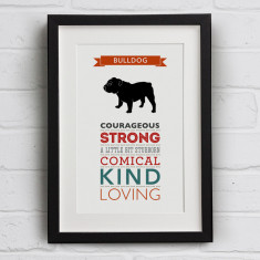 Bulldog Dog Breed Traits Print