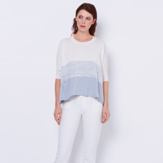 Cotton cashmere poncho top in Antarctic blue