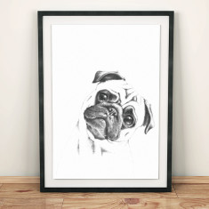 Pug in pencil print