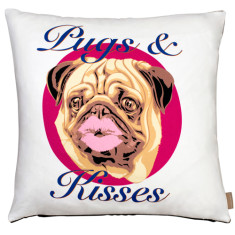 Pugs and kisses cushion