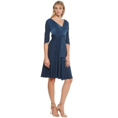 Corso umberto 3/4 sleeve v-neck jersey a-line dress in blue