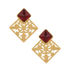 Diamond cut out brass statement earrings with ruby