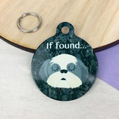 Shih Tzu Marble Printed Dog Name ID Tag Personalised