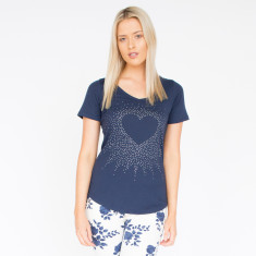 Heart Burst Navy & Diamonte Cotton Tee