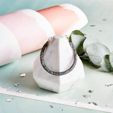 Glitzerland - Skinny Crystal Black Mesh Bracelet