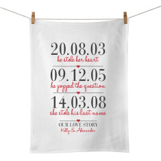 Three Dates personalised tea towel
