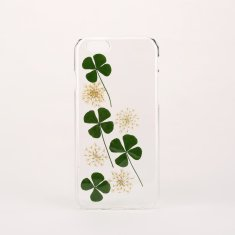Pressed yellow flower & green leaf phone case for iPhone or Samsung