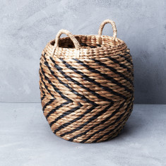 Waterhyacinth Chevron Belly Basket