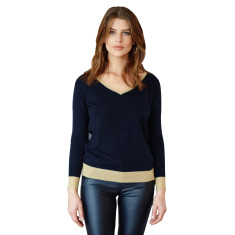 Merino Metallic Trim Sweater In Navy with Gold Trim