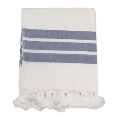 Hand-loomed striped tablecloth