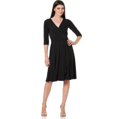 Reverse wrap dress (full skirt) in black