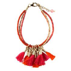 Pink Tassel Silver Bracelet
