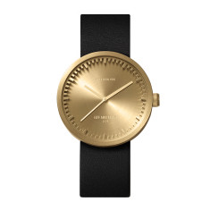Leff Amsterdam tube watch D38 with black leather strap brass finish