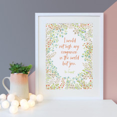 Romantic would not wish any companion Shakespeare quote floral print