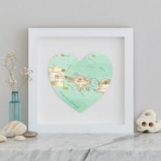 Bali map heart print
