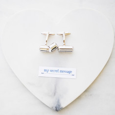Personalised secret message cuff links in silver