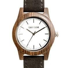 Monroe black sandalwood and suede watch