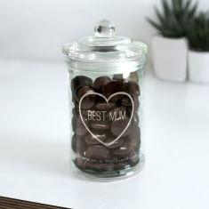 Personalised Best Mum Glass Sweet Jar
