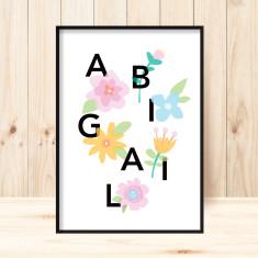Personalised Girls' Name art print (various sizes)
