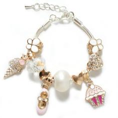 Pink ballet & cupcake charm bracelet