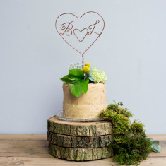 Double Heart Initial Wire Cake Topper