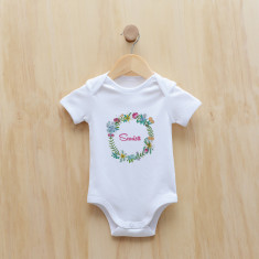 Personalised floral wreath Girl's bodysuit/onesie