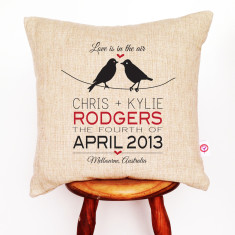 Birds on a wire personalised linen cushion cover