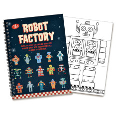 Robot Factory Flip style colouring book