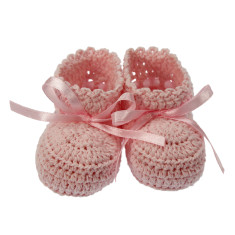 Minnie Hand Crocheted Pure Cotton Booties - Gift Boxed (various colours)