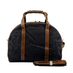 Canvas Waterproof Travel Bag With Leather Handle in Black