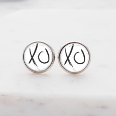 XO glass stud post earrings in silver