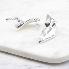 Folded Statement Earring Sterling Silver