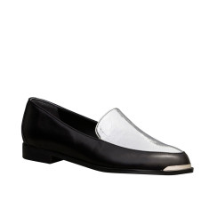 Persia Panelled Leather Loafers In Black and Silver