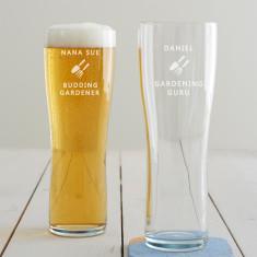 Personalised Gardening Pint Glass