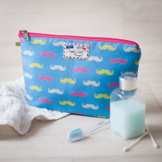 Fluorescent Mini Moustache Makeup Cosmetic Toiletry Wash Bag