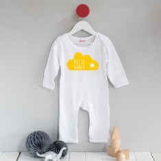 Hello world cloud baby long sleeved romper suit