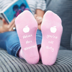 Personalised Pink Teachers Apple Socks
