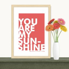 Framed personalised scandi sunshine birth print (various colours)