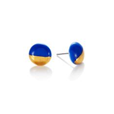 Gold dip porcelain stud in blue