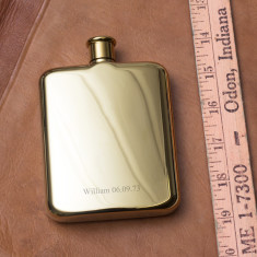 Gustav Personalised 14 Karat Gold Plated Hip Flask